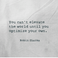 Memes, Rough, and Deliverance: You can't elevate  the world until you  optimize your own.  Robin Sharma I'm not really sure how the universe works. What I do know is that when I follow my instincts, put in the work, optimize the craft, deliver the value, continue when it's rough, the amazing appears.
