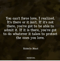 Love, Quotes, and Got: You can't force love, I realized.  It's there or it isn't. If it's not  there, you've got to be able to  admit it. If it is there, you've got  to do whatever it takes to protect  the ones you love.  Richelle Mead  wordables. Like us at Wordables for more quotes <3