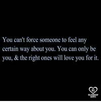 relationship quotes: You can't force someone to feel any  certain way about you. You can only be  you, & the right ones will love you for it.  RO  RELATIONSHIP  QUOTES