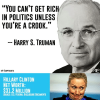 """harry s truman: """"YOU CAN'T GET RICH  IN POLITICS UNLESS  YOU'RE A CROOK.""""  HARRY S. TRUMAN  MIIO  HIT ECAPITALISTS  HILLARY CLINTON  NET WORTH:  $31.2 MILLION  SOURCE: U.S. FEDERAL DISCLOSURE DOCUMENTS"""
