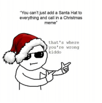 "christmas meme: ""You can't just add a Santa Hat to  everything and call in a Christmas  meme""  that's where  you're wrong  kiddo"