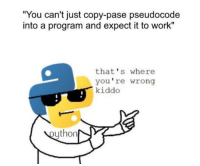 "Python be like: ""You can't just copy-pase pseudocode  into a program and expect it to work""  that's where  you're wrong  kiddo  ython Python be like"