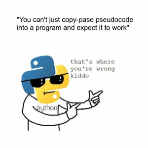 "Found this in a facebook group.: ""You can't just copy-pase pseudocode  into a program and expect it to work""  that's where  you're wrong  kiddo  eython Found this in a facebook group."