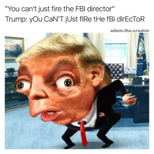 """Directorate: """"You can't just fire the FBl director""""  Trump: yOu CaN'T jUst flRe tHe fBi dlrEcToR  adam.the.creator"""
