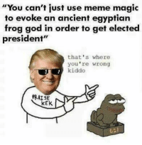 """God, Meme, and Magic: """"You can't just use meme magic  to evoke an ancient egyptian  frog god in order to get elected  president""""  that's where  you're wrong  kiddo  PRATSE  KEK"""