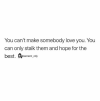 Funny, Love, and Memes: You can't make somebody love you. You  can only stalk them and hope for the  best. sarcasm only SarcasmOnly