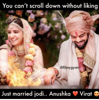 Memes, 🤖, and Down: You can't scroll down without likina  @filmygyarn  Just married jodi.. Anushka  -Virat