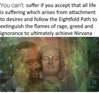 Nirvana, Non Existent Existentialist, and Greed: You can't suffer if you accept that all life  is suffering which arises from attachment  to desires and follow the Eightfold Path to  extinguish the flames of rage, greed and  ignorance to ultimately achieve Nirvana