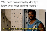 "Memes, Fuck, and Mean: ""You can't train everyday, don't you  know what 'over training means?""  know what 'over training' means?""  @fuck cardio  Do you know what  DO YOu know what SHUT THE FUCKUP mean? Have fun training chest once a week I'll make 3x the gains 🤗"
