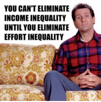 Memes, Money, and Birds: YOU CANTELIMINATE  INCOME INEQUALITY  UNTIL YOU ELIMINATE  EFFORT INEQUALITY Here is a novel concept for the liberal-whacko-birds out there.  Effort = money   No effort = no money