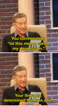 "Lol, Meme, and Depression: You commented:  ""lol this meme cured  my depression.   Your thefalOİST  determined that was a lie"