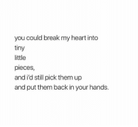 Break, Heart, and Back: you could break my heart intc  tiny  little  pieces,  and i'd still pick them up  and put them back in your hands.