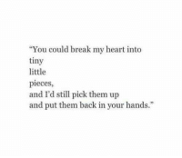 """Break, Heart, and Back: """"You could break my heart into  tiny  little  pieces,  and I'd still pick them up  and put them back in your hands."""