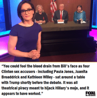 "theatricality: ""You could feel the blood drain from Bill's face as four  Clinton sex accusers including Paula Jones, Juanita  Broaddrick and Kathleen Willey sat around atable  with Trump shortly before the debate. It was all  theatrical piracy meant to hijack Hillary's mojo, and it  appears to have worked.""  BUSINESS"