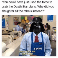 """Death Star, Jedi, and Memes: """"You could have just used the force to  grab the Death Star plans. Why did you  slaughter all the rebels instead?""""  P PCOPy  copy  P pcopy  CAUSE FUCK'EM That's fair enough  Posted by Eddie Rodriguez on """"Just Jedi Memes"""""""