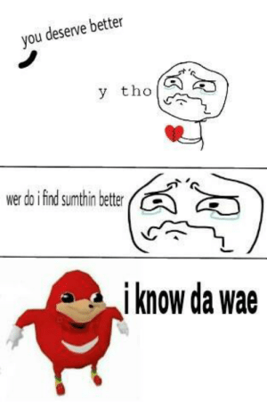 "When he says ""You deserve better"" during break up so u turn to memes instead by Queen_Merneith FOLLOW 4 MORE MEMES.: you deserve better  y tho  wer do ifind sumthin better  i know da wae When he says ""You deserve better"" during break up so u turn to memes instead by Queen_Merneith FOLLOW 4 MORE MEMES."