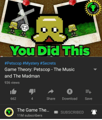 Petscop: You Did This  #Petscop #Mystery #Secrets  Game Theory: Petscop - The Music  and The Madman  936 views  662  Share Download Save  O  The Game The  11M subscribers  . . SUBSCRIBED