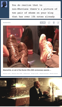 Doctor, Shoes, and Target: You do realize that to  non-Whovians there's a picture of  two pair of shoes on your blog  that has over 10k notes already   doctorwho  12,759  Meanwhile, on set of the Doctor Who 50th anniversary special....  #doctor who #doctor who 50th #television #matt smith #david tennant #tenth doctor doctorwho:  Yup.