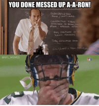 Ronnings: YOU DONE MESSED UP ATA-RON!  L ENDOSKELETON  CARTILAGE  CONTRACTILE Ti9SUE  ATTACHED TO BONE  INTERNAL  OR  SCALES, FEAmERS  TURE EKTENONG FROM  @NFL MEMES