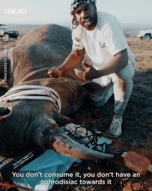 For centuries thousands of rhino have been brutally and needlessly murdered for their horn - and it needs to stop.: You don't consume it, you don't have an  aphrodisiac towards it For centuries thousands of rhino have been brutally and needlessly murdered for their horn - and it needs to stop.