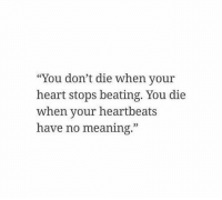 """Heart, Meaning, and You: """"You don't die when your  heart stops beating. You die  when your heartbeats  have no meaning."""""""