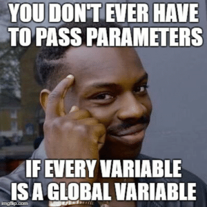 Why I never worry about function or class parameters: YOU DON'T EVER HAVE  TO PASS PARAMETERS  IF EVERY VARIABLE  IS A GLOBAL VARIABLE  imgflip.com Why I never worry about function or class parameters