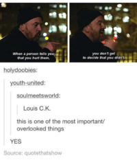 Memes, United, and Youth: you don't get  When a person tells youi  to decide that you didn  that you hurt them,  holy doobies  youth united  soulmeetsworld:  Louis C.K.  this is one of the most important/  overlooked things  YES  Source: quotethatshow
