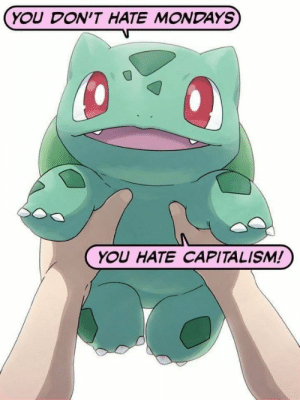 Dont Hate: YOU DON'T HATE MONDAYS  YOU HATE CAPITALISM!