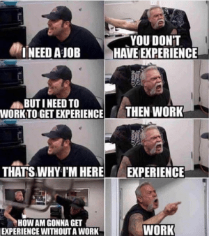 Work Experience: YOU DONT  INEED A JOB HAVE EXPERIENCE  BUTI NEED TO  WORKTO GET EXPERIENCE  THEN WORK  THATS WHY I'M HEREEXPERIENCE  HOW AM GONNA GET  WORK  EXPERIENCE WITHOUT A WORK