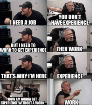 freshest-memes:Life as a graduate: YOU DONT  INEED AJOBHAVE EXPERIENCE  BUTI NEED TO  WORKTO GET EXPERIENCE HEN WORK  THAT'S WHY I'M HERE EXPERIENCE  HOW AM GONNA GET  EXPERIENCE WITHOUTA WORK  WORK freshest-memes:Life as a graduate