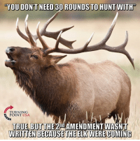 Memes, True, and 🤖: YOU DON'T NEED 30 ROUNDS TO HUNT WITH'  TURNING  POINT USA  TRUE BUT THE 2AMENDMENT WASNT  WRITTEN BECAUSE THEELKV  ERE COMING YUP! #BigGovSucks