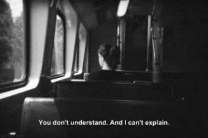 don't understand: You don't understand. And I can't explain.