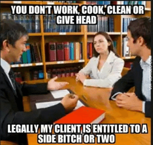 Funny lawyer meme: YOU DONTWORK, COOK,CLEAN OR  GIVE HEAD  LEGALLY MY CLIENTIS ENTITLED TOA  SIDE BITCH ORTWO Funny lawyer meme