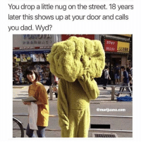 Im smoking that shit! Wyd 🤔: You drop a little nug on the street. 18 years  later this shows up at your door and calls  you dad. Wyd?  :カラオケ  医100 |  @marijuana.com Im smoking that shit! Wyd 🤔