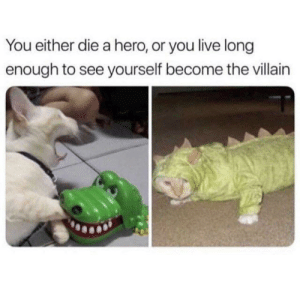 meirl: You either die a hero, or you live long  enough to see yourself become the villain meirl