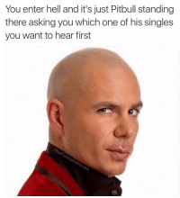 Where it all began.: You enter hell and it's just Pitbull standing  there asking you which one of his singles  you want to hear first  ntrovert Where it all began.