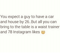 Memes, Waist Trainer, and 🤖: You expect a guy to have a car  and house by 26..But all you can  bring to the table is a waist trainer  and 78 Instagram likes I'll take the waist trainer & 78 likes... 😇 @timkarsliyev . independentwoman truelove relationshipgoals