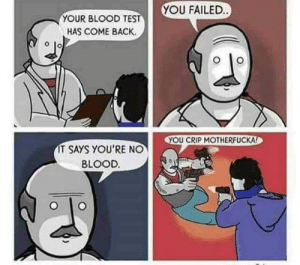 Blood Test via /r/memes https://ift.tt/2AifIlI: YOU FAILED  YOUR BLOOD TE  HAS COME BACK.  YOU CRIP MOTHERFUCKA  IT SAYS YOU'RE NO  BLOOD. Blood Test via /r/memes https://ift.tt/2AifIlI