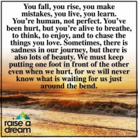 A Dream, Alive, and Fall: You fall, you rise, you make  mistakes, you live, you learn  You're human, not perfect. You've  been hurt, but you're alive to breathe,  to think, to enjoy, and to chase the  things you love. Sometimes, there is  sadness in our journey, but there is  also lots of beauty. We must keep  putting one foot in front of the other  even when we hurt, for we will never  know what is waiting for us just  around the bend.  raise d  dream Thinking Positive with Raise a Dream ❤️
