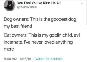 Android, Best Friend, and Twitter: You Fool You've Kirst Us All  @Winskillfull  Dog owners: This is the goodest dog,  my best friend  Cat owners: This is my goblin child, evil  incarnate, I've never loved anything  more  8:40 AM 6/16/19 Twitter for Android Meirl