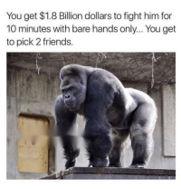 Friends, Funny, and Lol: You get $1.8 Billion dollars to fight him for  10 minutes with bare hands only... You get  to pick 2 friends. Tag 2 friends lol