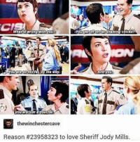 Memes, 🤖, and Sheriff: You getonon tatahaming chicks?  And you  you aréJust a douche!  thewinchestercave  Reason #23958323 to love Sheriff Jody Mills. I LOVE HER SOO MUCH