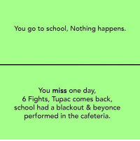 Twitter: BLB247 Snapchat : BELIKEBRO.COM belikebro sarcasm Follow @be.like.bro: You go to school, Nothing happens  You miss one day,  6 Fights, Tupac comes back,  school had a blackout & beyonce  performed in the cafeteria. Twitter: BLB247 Snapchat : BELIKEBRO.COM belikebro sarcasm Follow @be.like.bro