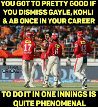 Memes, Phenomenal, and Cricket: YOU GOT TO PRETTY GOOD IF  YOU DISMISS GAYLE, KOHLI  & AB ONCE IN YOUR CAREER  idea  ydea  STOINIS  MARSH  CRICKET  TO DO IT IN ONE INNINGS IS  QUITE PHENOMENAL In whatsoever form ABD, Gayle and Kohli are, you don't take all three of them in one spell in the powerplay. Take a bow Sandeep Sharma.