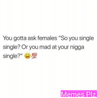 "Single: You gotta ask females ""So you single  single? Or you mad at your nigga  single?""E 100  Memes Plz"