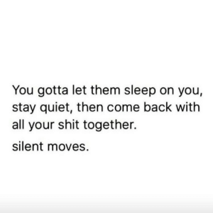 Shit, Quiet, and Sleep: You gotta let them sleep on you,  stay quiet, then come back with  all your shit together.  silent moves.