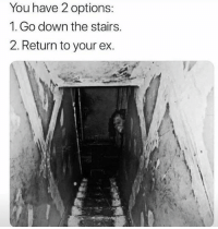 Memes, Wshh, and 🤖: You have 2 options:  1. Go down the stairs.  2. Return to your ex. What would you choose? 👇😳 WSHH