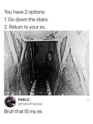 Bruh, Dank, and Memes: You have 2 options:  1. Go down the stairs.  2. Return to your ex.  PABLO  @PabloPiqasso  Bruh that IS my ex RIP. by Saeed2196 MORE MEMES