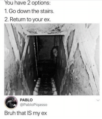 Bruh, Funny, and Down: You have 2 options:  1.Go down the stairs  2. Return to your ex.  PABLO  @PabloPiqasso  Bruh that IS my ex I CAN'T 😂😂😂😂 https://t.co/Ein5sAiBXg