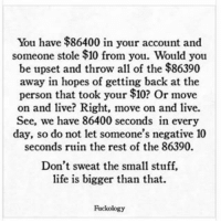 Memes, All of The, and 🤖: You have $86400 in your account and  someone stole $10 from you. Would you  be upset and throw all of the $86390  away in hopes of getting back at the  person that took your $10? Or move  on and live? Right, move on and live.  See, we have 86400 seconds in every  day, so do not let someone's negative 10  seconds ruin the rest of the 86390.  Don't sweat the small stuff,  life is bigger than that.  Rackology